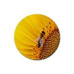 Sun Flower Bees Summer Garden Rubber Coaster (Round)  Front