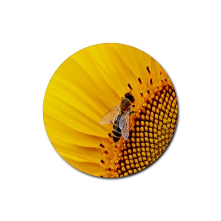 Sun Flower Bees Summer Garden Rubber Coaster (Round)