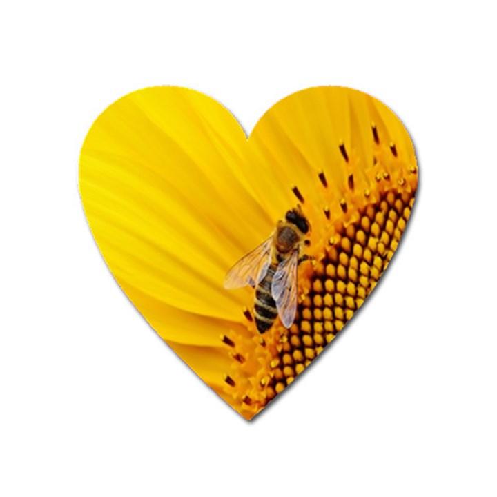Sun Flower Bees Summer Garden Heart Magnet
