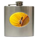 Sun Flower Bees Summer Garden Hip Flask (6 oz) Front