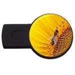Sun Flower Bees Summer Garden USB Flash Drive Round (1 GB)  Front