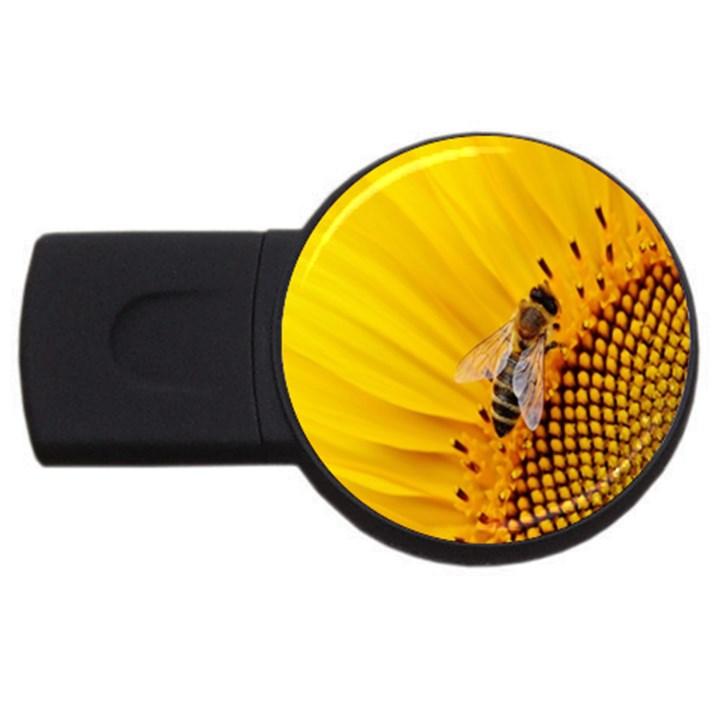 Sun Flower Bees Summer Garden USB Flash Drive Round (1 GB)