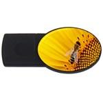 Sun Flower Bees Summer Garden USB Flash Drive Oval (1 GB)  Front