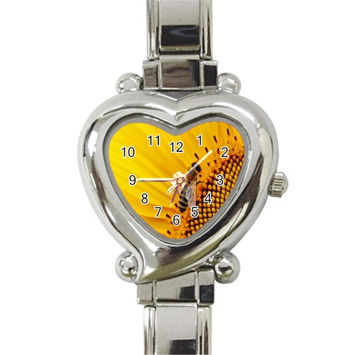 Sun Flower Bees Summer Garden Heart Italian Charm Watch