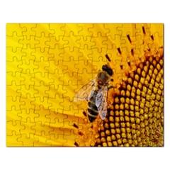 Sun Flower Bees Summer Garden Rectangular Jigsaw Puzzl