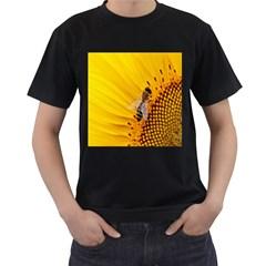 Sun Flower Bees Summer Garden Men s T-Shirt (Black) (Two Sided)