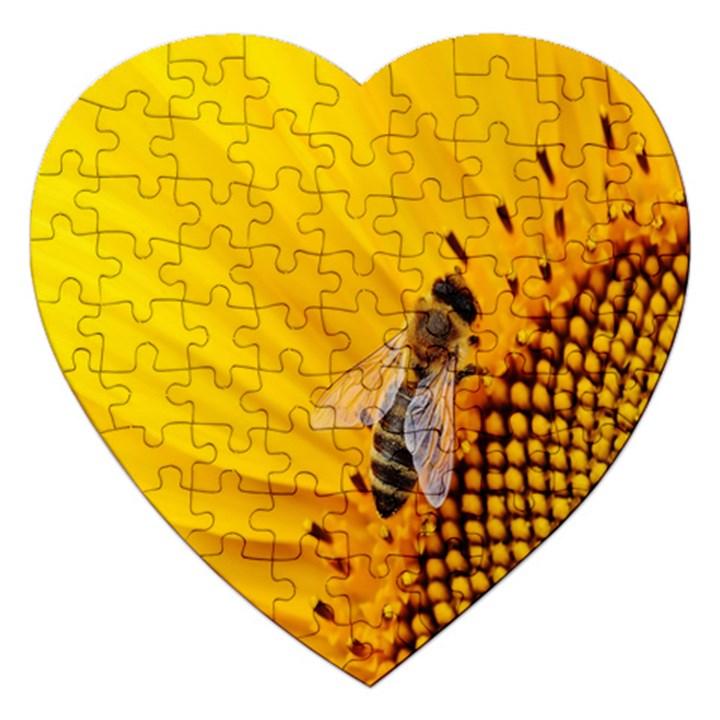 Sun Flower Bees Summer Garden Jigsaw Puzzle (Heart)