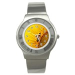 Sun Flower Bees Summer Garden Stainless Steel Watch Front