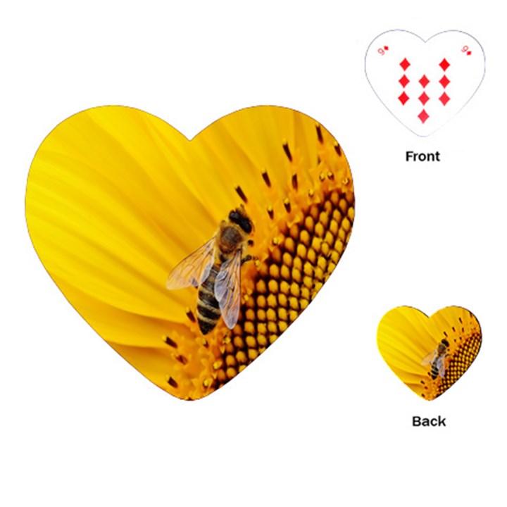 Sun Flower Bees Summer Garden Playing Cards (Heart)