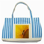 Sun Flower Bees Summer Garden Striped Blue Tote Bag Front