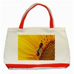 Sun Flower Bees Summer Garden Classic Tote Bag (Red) Front