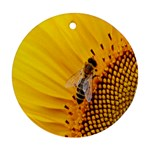 Sun Flower Bees Summer Garden Round Ornament (Two Sides)  Front