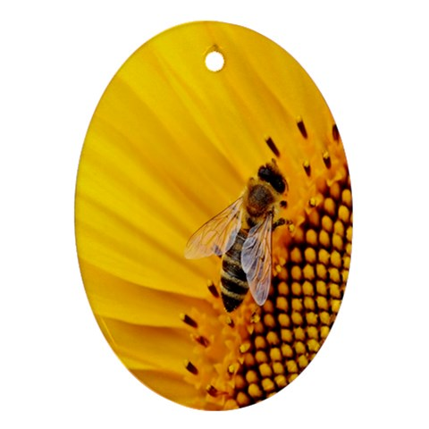 Sun Flower Bees Summer Garden Oval Ornament (Two Sides)