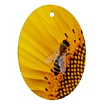 Sun Flower Bees Summer Garden Oval Ornament (Two Sides) Back