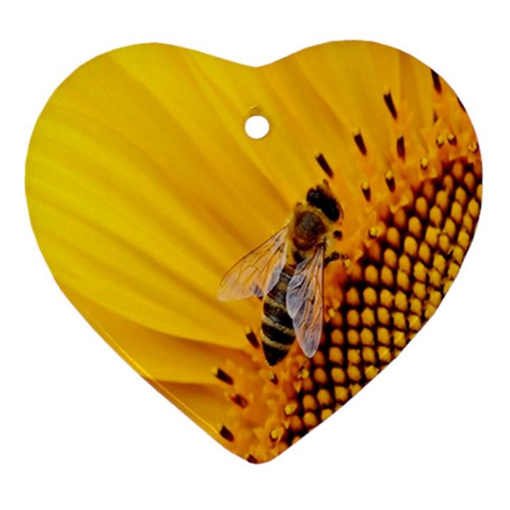 Sun Flower Bees Summer Garden Heart Ornament (2 Sides)
