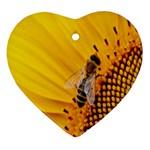 Sun Flower Bees Summer Garden Heart Ornament (2 Sides) Back