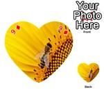Sun Flower Bees Summer Garden Playing Cards 54 (Heart)  Front - Diamond9