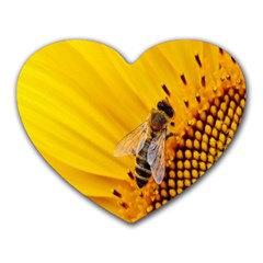 Sun Flower Bees Summer Garden Heart Mousepads