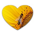 Sun Flower Bees Summer Garden Heart Mousepads Front