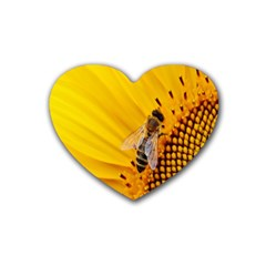 Sun Flower Bees Summer Garden Rubber Coaster (Heart)