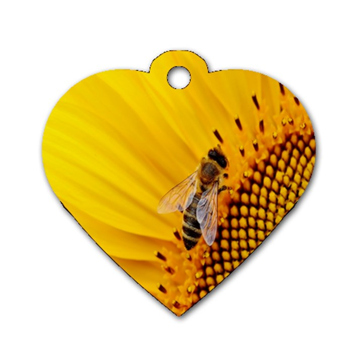 Sun Flower Bees Summer Garden Dog Tag Heart (Two Sides)