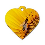 Sun Flower Bees Summer Garden Dog Tag Heart (Two Sides) Back