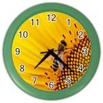 Sun Flower Bees Summer Garden Color Wall Clocks Front