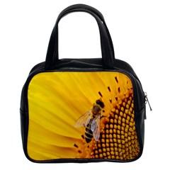 Sun Flower Bees Summer Garden Classic Handbags (2 Sides)
