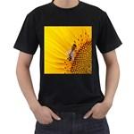 Sun Flower Bees Summer Garden Men s T-Shirt (Black) Front