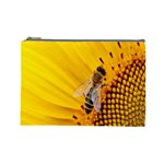 Sun Flower Bees Summer Garden Cosmetic Bag (Large)  Front