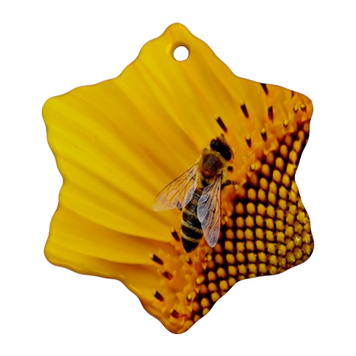 Sun Flower Bees Summer Garden Snowflake Ornament (2-Side)