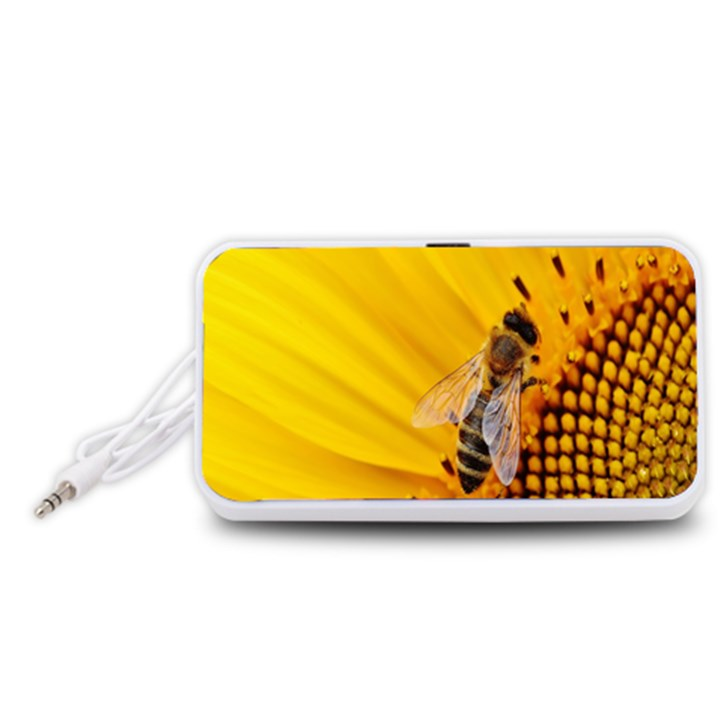 Sun Flower Bees Summer Garden Portable Speaker (White)