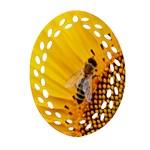 Sun Flower Bees Summer Garden Oval Filigree Ornament (2-Side)  Back