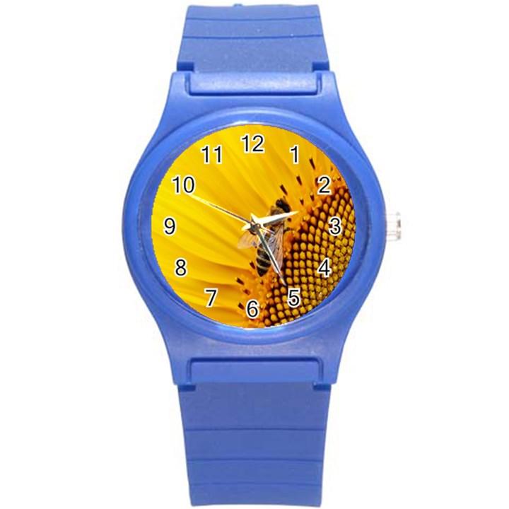 Sun Flower Bees Summer Garden Round Plastic Sport Watch (S)