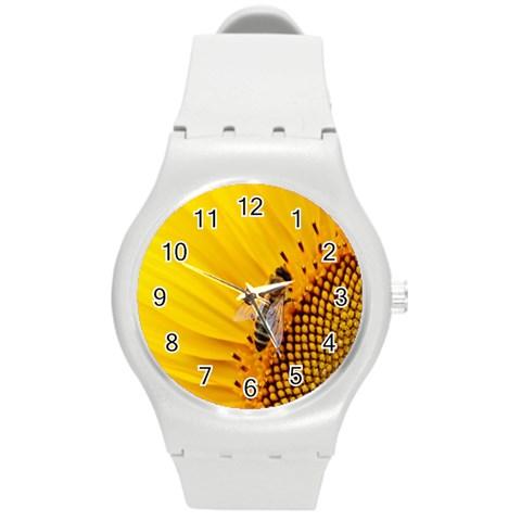 Sun Flower Bees Summer Garden Round Plastic Sport Watch (M)