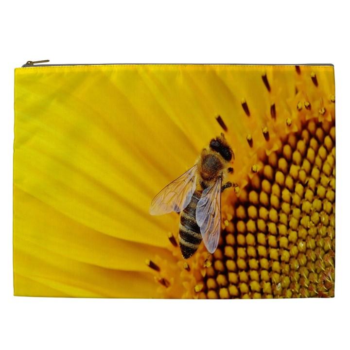 Sun Flower Bees Summer Garden Cosmetic Bag (XXL)