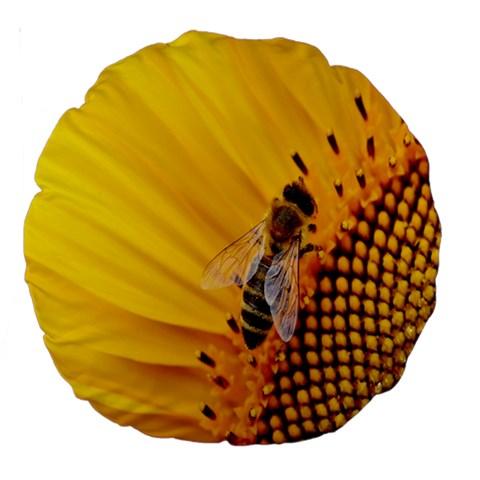 Sun Flower Bees Summer Garden Large 18  Premium Round Cushions