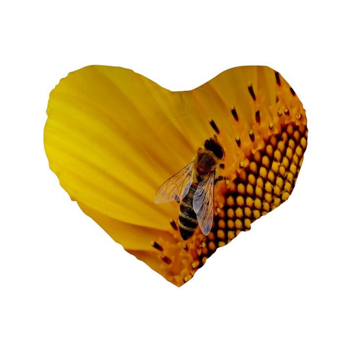 Sun Flower Bees Summer Garden Standard 16  Premium Heart Shape Cushions