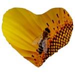 Sun Flower Bees Summer Garden Large 19  Premium Heart Shape Cushions Front