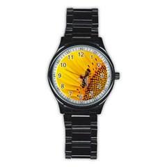 Sun Flower Bees Summer Garden Stainless Steel Round Watch