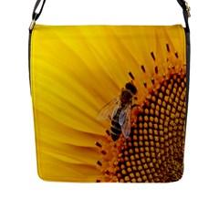 Sun Flower Bees Summer Garden Flap Messenger Bag (L)