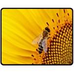 Sun Flower Bees Summer Garden Double Sided Fleece Blanket (Medium)  60 x50 Blanket Front
