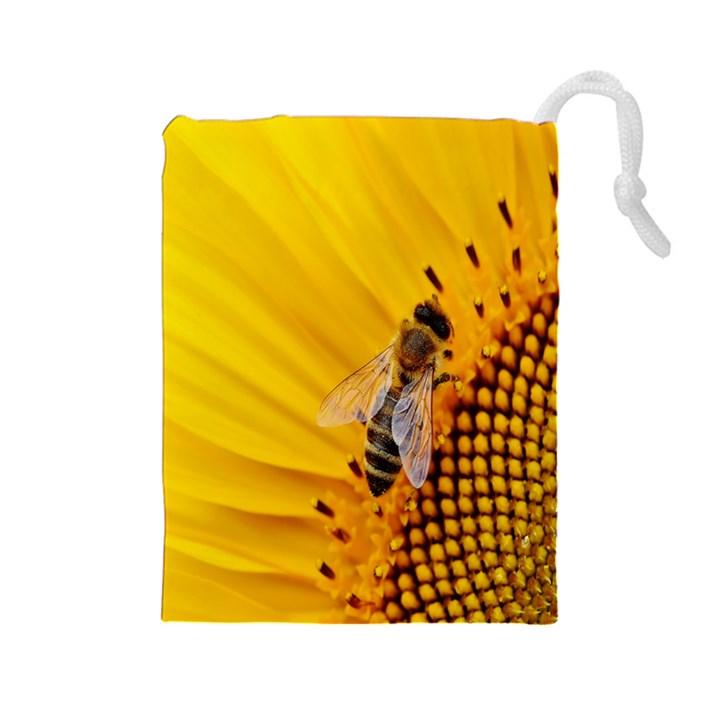 Sun Flower Bees Summer Garden Drawstring Pouches (Large)