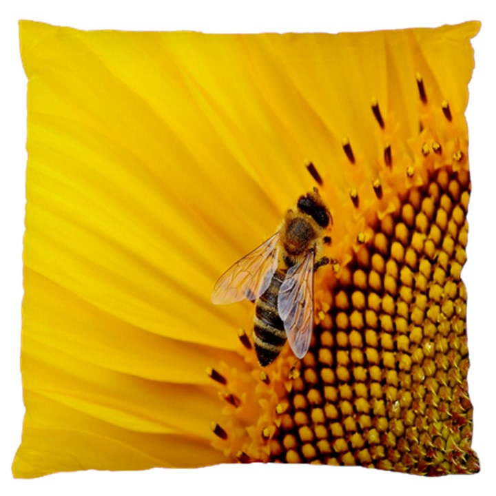 Sun Flower Bees Summer Garden Large Flano Cushion Case (Two Sides)