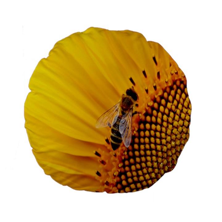 Sun Flower Bees Summer Garden Standard 15  Premium Flano Round Cushions