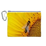 Sun Flower Bees Summer Garden Canvas Cosmetic Bag (L) Front