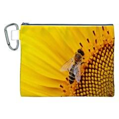 Sun Flower Bees Summer Garden Canvas Cosmetic Bag (XXL)