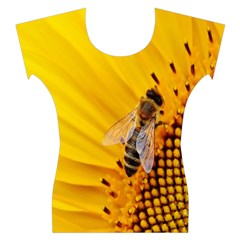 Sun Flower Bees Summer Garden Women s Cap Sleeve Top