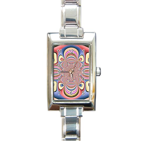 Pastel Shades Ornamental Flower Rectangle Italian Charm Watch