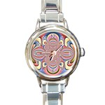 Pastel Shades Ornamental Flower Round Italian Charm Watch Front